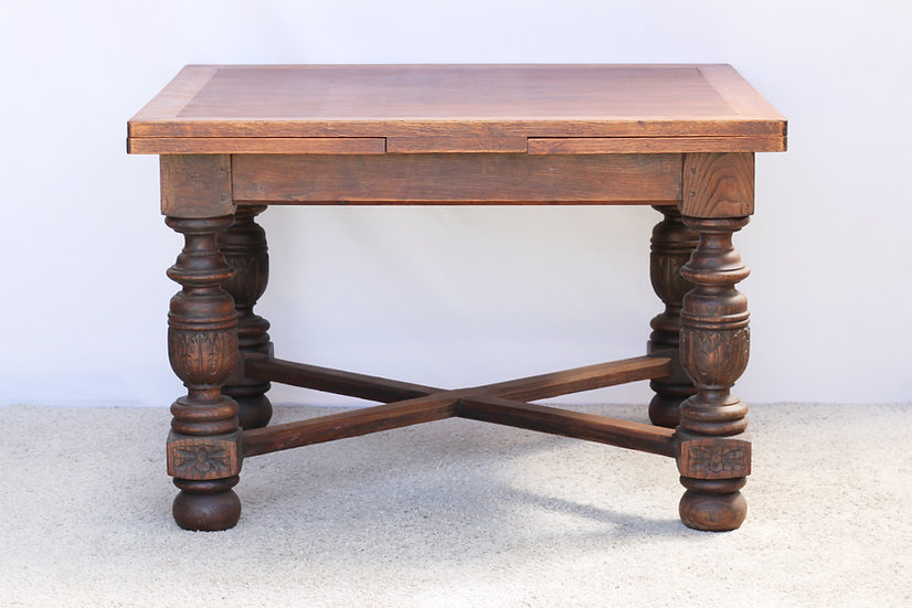 French-antique-vintage-oak-dining-table-draw-leaf-carved-legs-nz-new-zealand-image-1