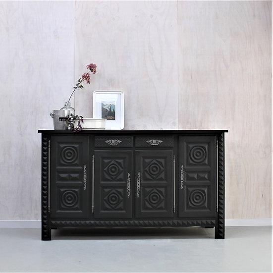 oak sideboard enfilade carved breton grey French European antique vintage furniture homeware décor nz front