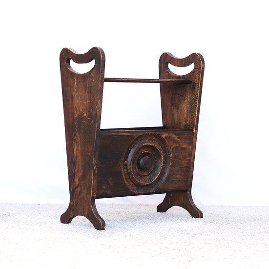 French-antique-vintage-wooden-magazine-holder-carved-nz-new-zealand-image-1