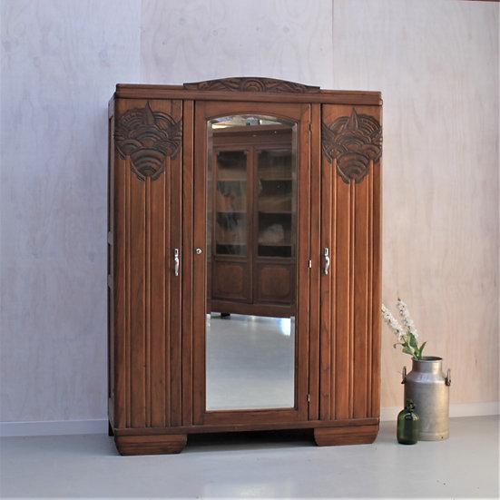 art deco wardrobe linen cupboard carved mirror French European antique vintage furniture homeware décor nz front