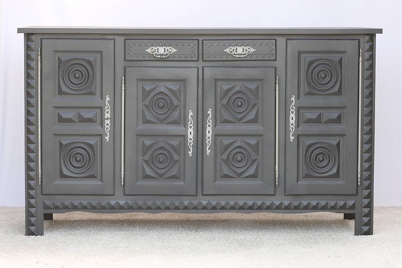 French-antique-vintage-oak-sideboard-enfilade-carved-breton-grey-nz-new-zealand-image-1