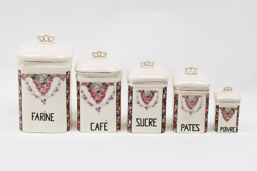 Set of 5 porcelain storage canisters - rose flowers. (sold)
