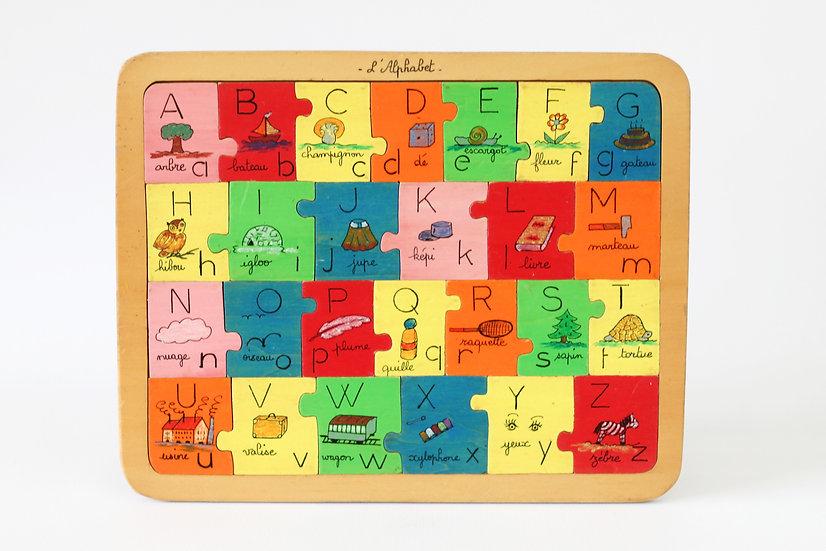 wooden alphapet jigsaw puzzle French European antique vintage furniture homeware décor nz