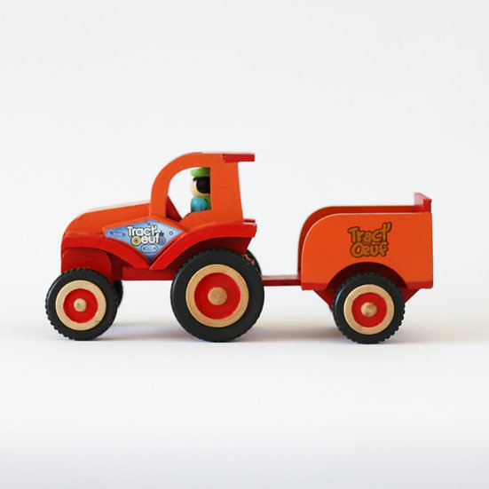 Tract-oeuf wooden childrens tractor toy French European antique vintage furniture homeware décor nz side view
