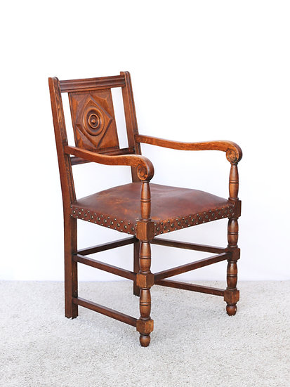 French-antique-vintage-chair-leather-carved-desk-study-dining-hall-nz-new-zealand-image-1