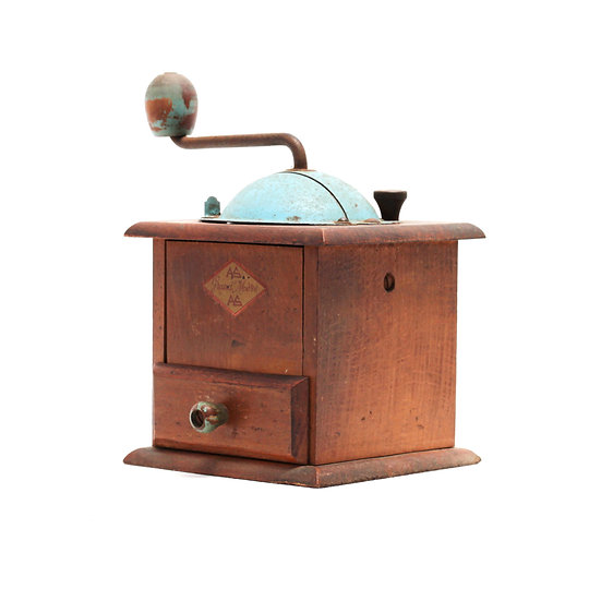 French-antique-vintage-coffee-mill-grinder-ateliers-saint-gervais-blue-top-nz-new-zealand-image-1