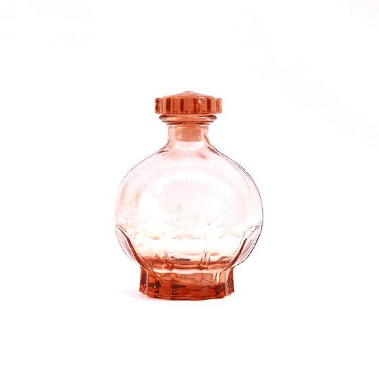 French-antique-vintage-pink-depressed-glass-perfume-bottle-flower-on-lid-nz-new-zealand-image-1