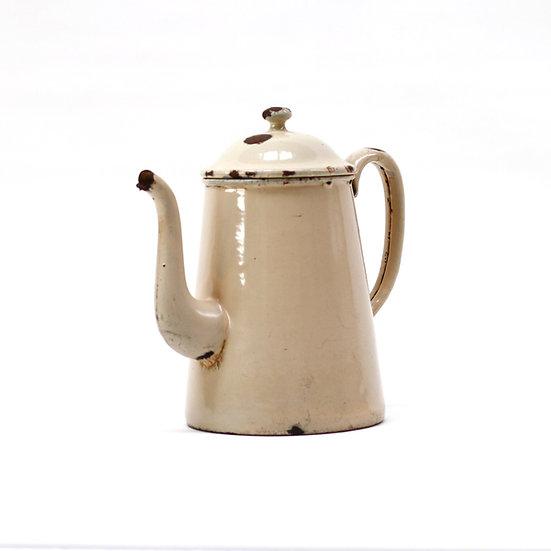 French-antique-vintage-enamel-cafetiere-jug-pitcher-cream-nz-new-zealand-image-1