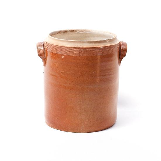 French-antique-vintage-confit-pot-terracotta-cream-glaze-provincial-rustic-farmhouse-nz-new-zealand-image-1