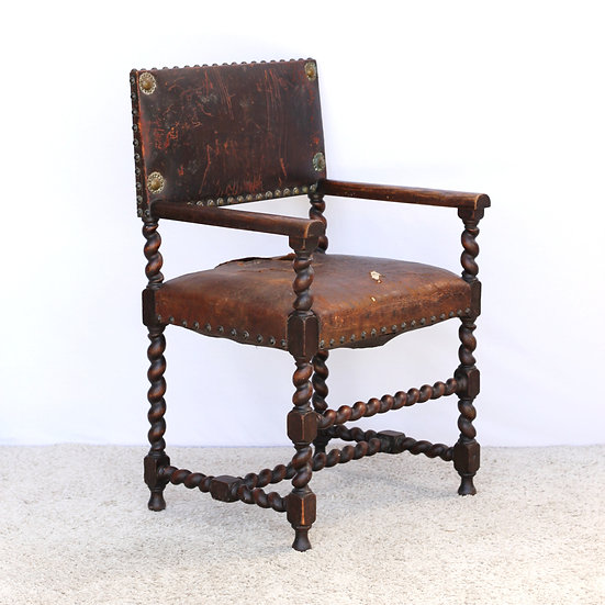Leather Notaire's (solicitors) or desk chair with barley twist legs