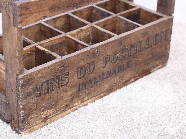 rustic wooden wine bottle crate vins du postillon French European antique vintage furniture homeware décor nz top view
