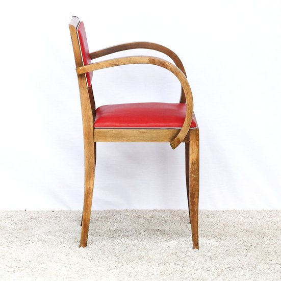 French-antique-vintage-mid-century-1950-bridge-chair-red-skai-nz-new-zealand-image-1