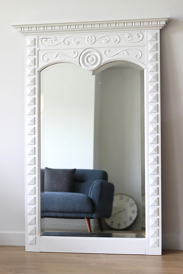 French-antique-vintage-large-carved-mirror-bevelled-glass-breton-style-nz-new-zealand-image-1