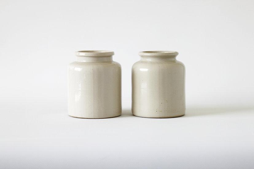 Set of 2 mustard pots French European antique vintage furniture homeware décor nz front