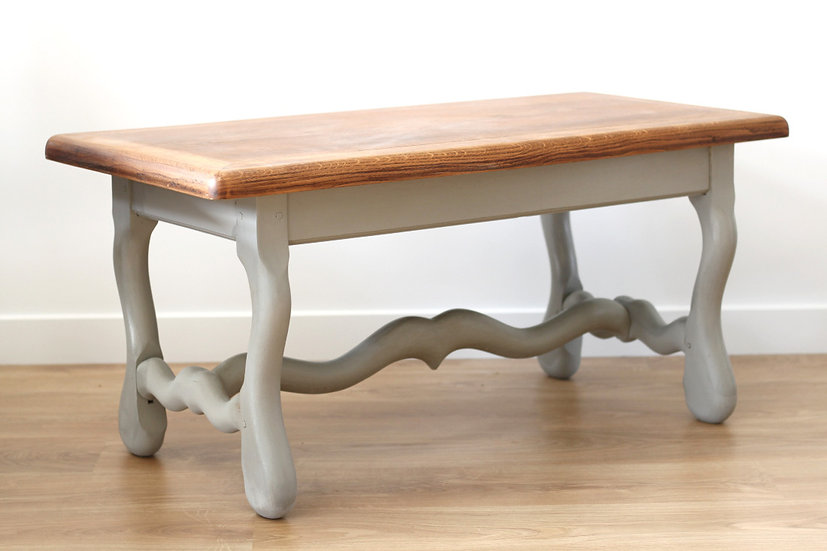 oak coffee table mutton style legs painted French European antique vintage furniture homeware décor nz side view