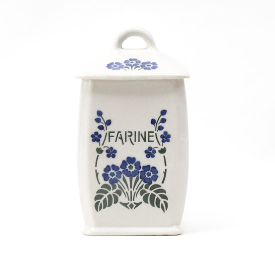French-antique-vintage-porcelain-canister-flour-farine-flower-pattern-nz-new-zealand-image-1