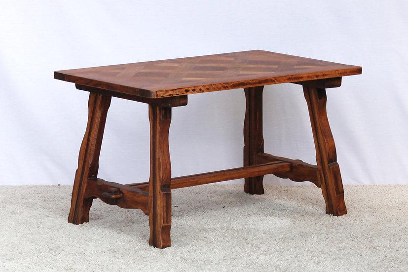 French-antique-vintage-provincial-farmhouse-oak-coffee-table-parquet-top-nz-new-zealand-image-1