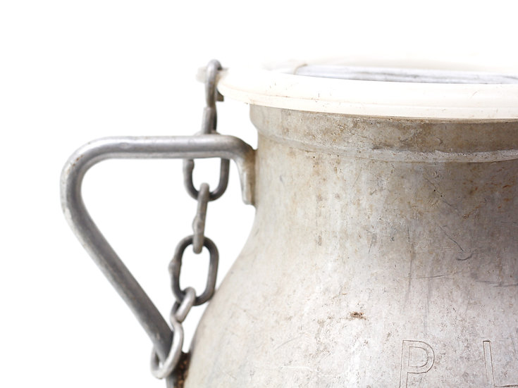 French-antique-vintage-milk-churn-can-pail-large-aluminium-PL-stamp-nz-new-zealand-image-1