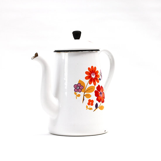 French-antique-vintage-retro-enamel-cafetiere-jug-pitcher-white-flower-nz-new-zealand-image-1
