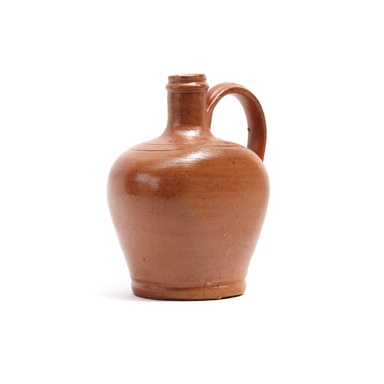 French-antique-vintage-stoneware-jug-pitcher-brown-cream-oil-pottery-provincial-rustic-farmhouse-nz-new-zealand-image-1