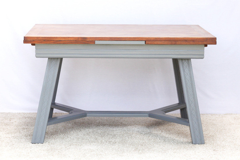 oak dining table draw leaf extensions parquet top charcoal carved legs French European vintage furniture nz front