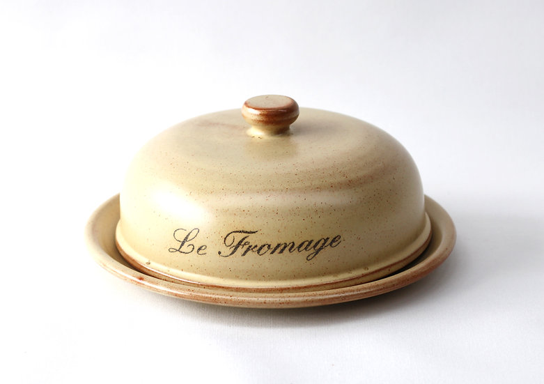 Le Fromage stoneware plate & cover (sold)