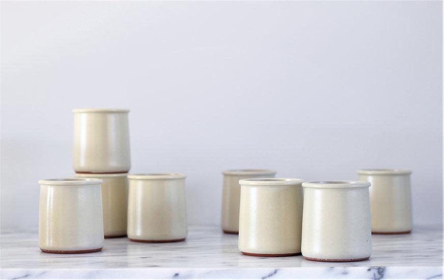 Set of 2 cream yoghurt pots