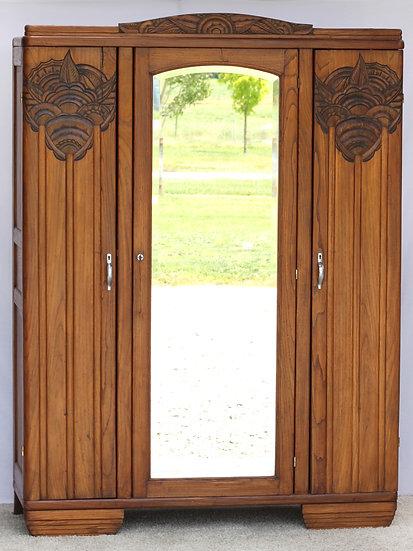 French-antique-vintage-walnut-armoire-wardrobe-art-deco-carved-mirror-nz-new-zealand-image-1
