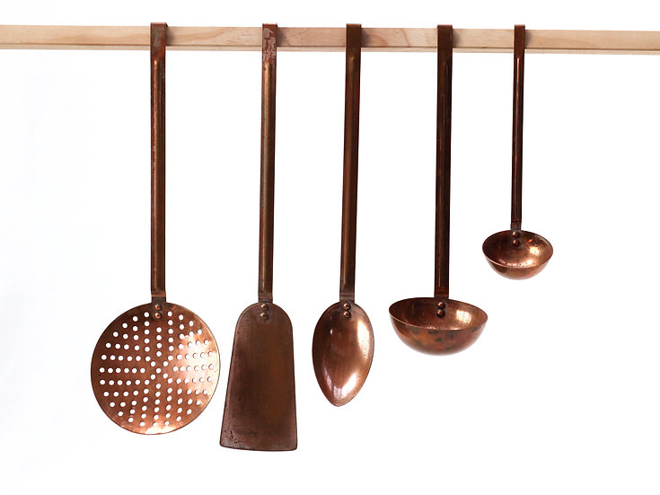 French-antique-vintage-copper-hanging-utensils-set-of-5-nz-new-zealand-image-1