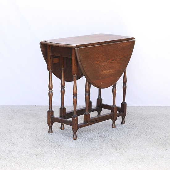 French-antique-vintage-oak-gate-leg-drop-leaf-table-turned-legs-oval-top-nz-new-zealand-image-1