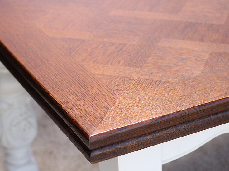French-antique-vintage-oak-dining-table-draw-leaf-extensions-parquet-top-breton-carved-legs-nz-new-zealand-image-1