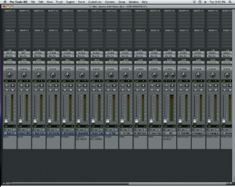 Figure 1. The Mix window in Pro Tools showing the positions of the bass, kick, snare and hi-hat tracks.