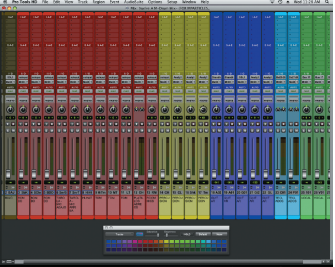 Figure 3. Pro Tools Mix window showing the different sections of colored instruments for quick identification of these.