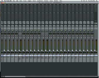 Figure 2. Pro Tools Mix window showing the track order including a Master Fader at right end of the window.