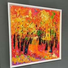 """Autumn Colours.  21""""x21""""  Framed Size.  Acrylic.  Bernie Wisniewski."""