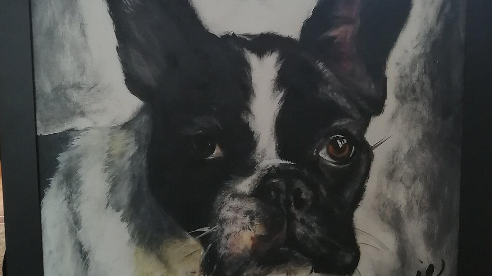 Acrylique sur bois , Doggy