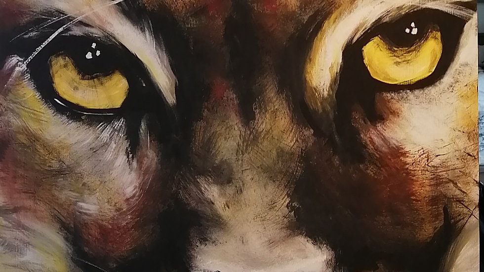 Acrylic on wood , Puma