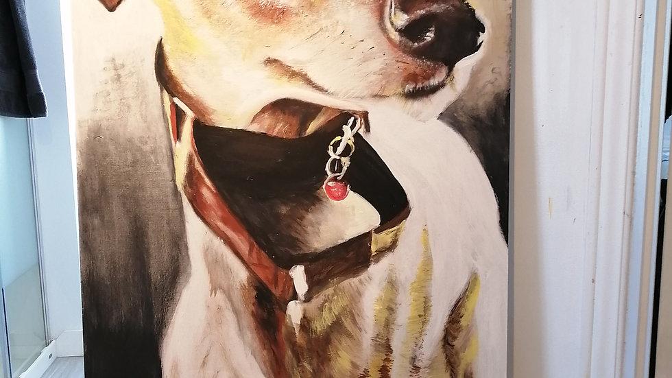 Acrylique sur bois , Rocket mon chien