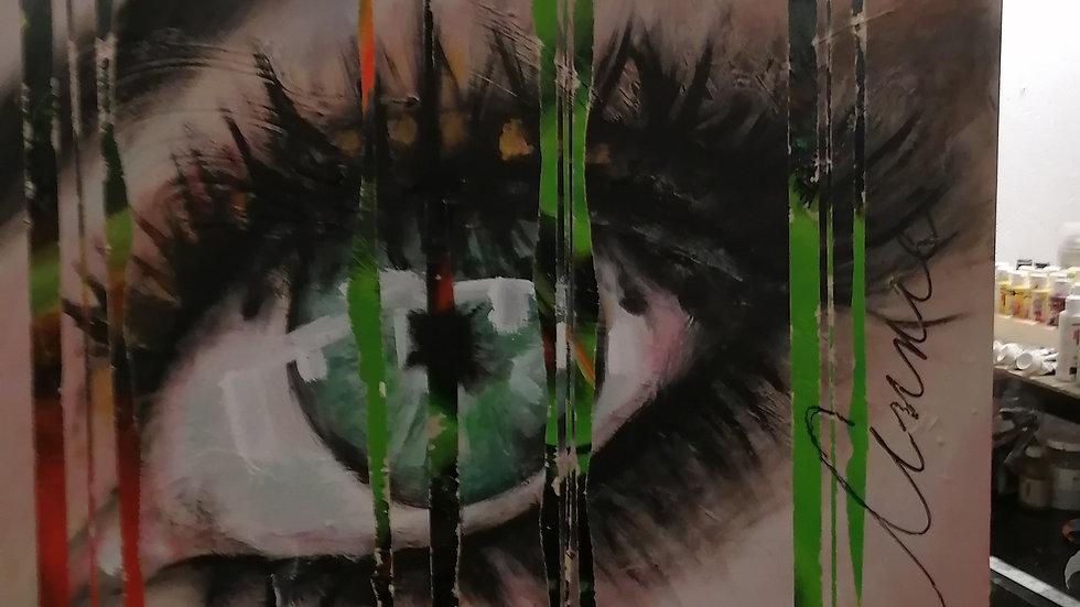 Acrylique sur bois , Green eye