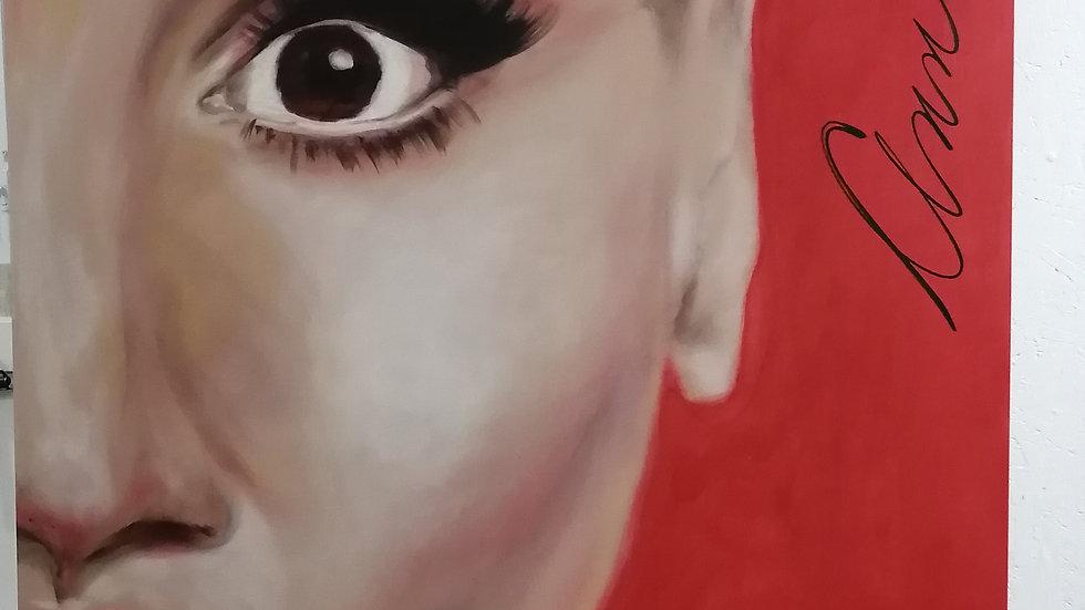 Acrylique sur toile , red lips