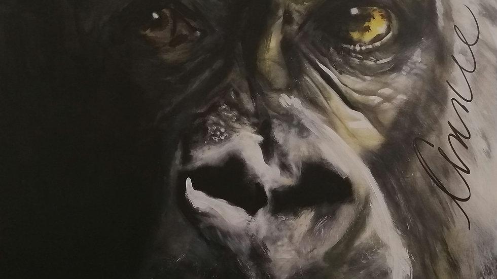Acrylique sur bois , Gorille