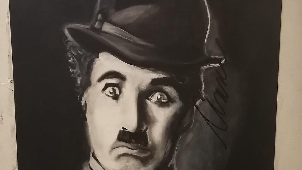 Acrylique sur bois , Charlie Chaplin