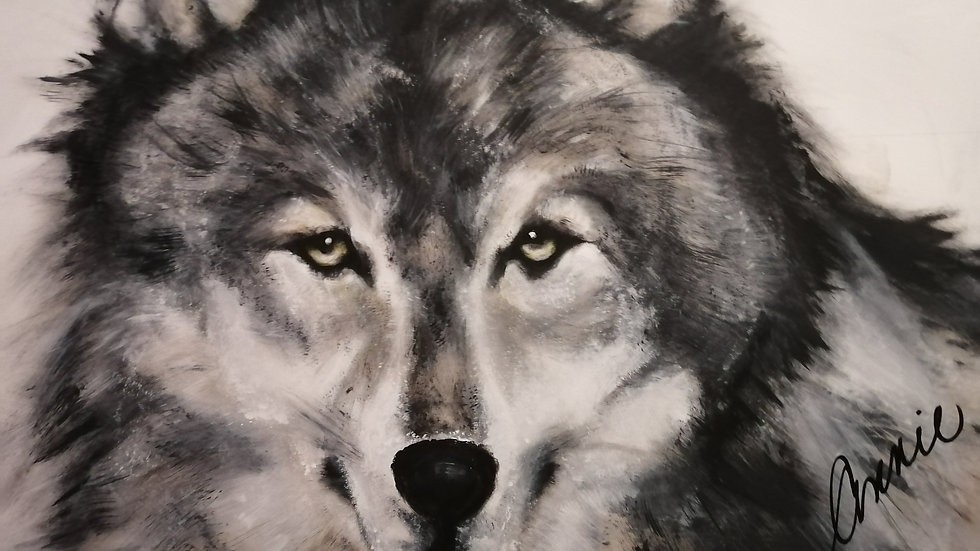 Acrylic on wood , Wolf