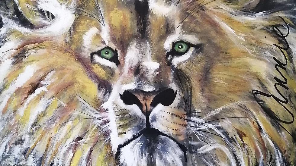 Acrylique sur bois, Lion