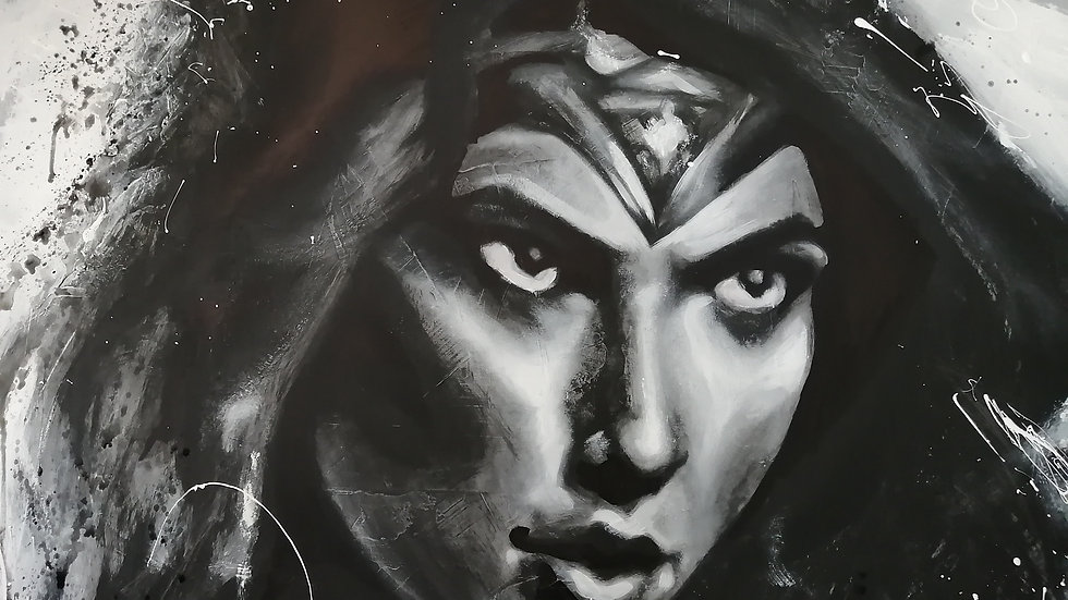Acrylique sur bois ,  Wonder Woman