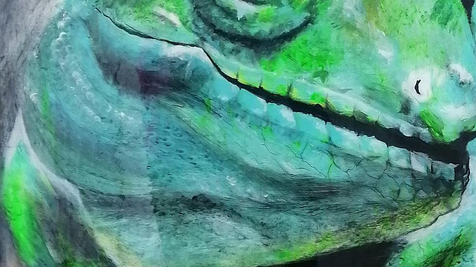 Acrylique sur bois fini époxy , Caméléon