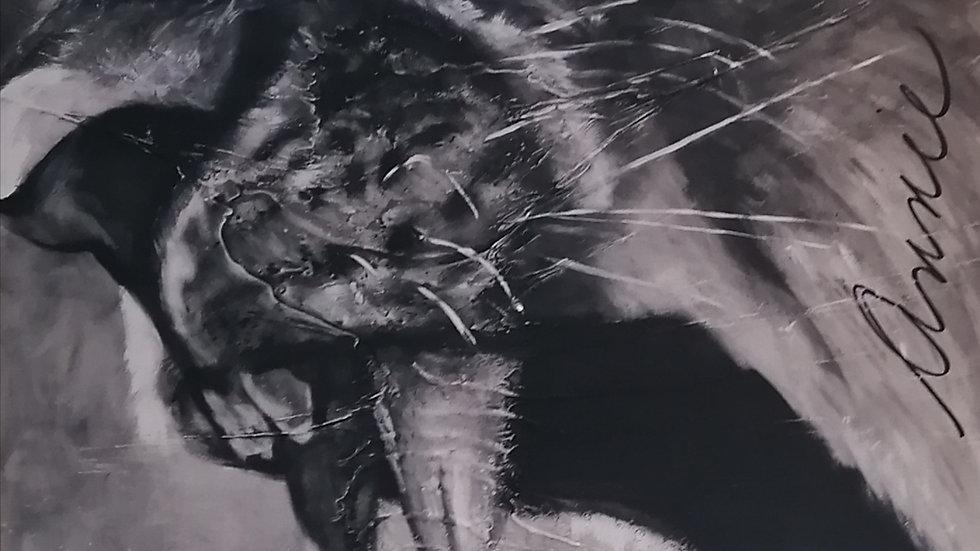 acrylique sur bois , Lion
