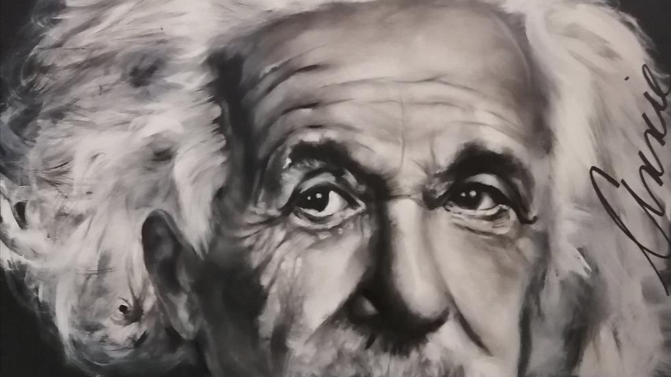 Acrylique sur toile , Einstein