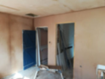 plasterer has skimmed wall