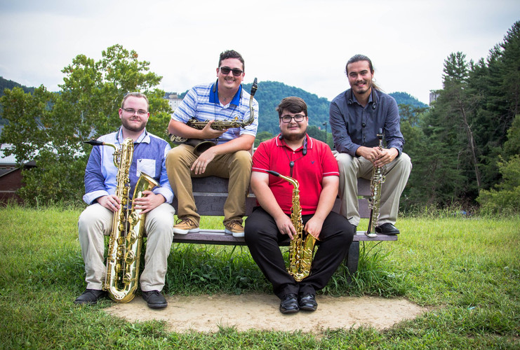 Lockegee Saxophone Quartet 2018-2019. Josh Lumpkins, Caleb Gibson, Hunter Plymale, Chase Taylor